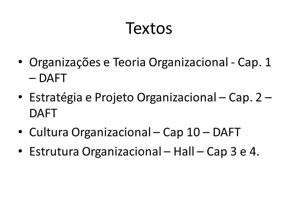 Textos Organizações e Teoria Organizacional - Cap. 1 – DAFT Estratégia e Projeto Organizacional – Cap. 2 – DAFT Cultura Organizacional – Cap 10 – DAFT