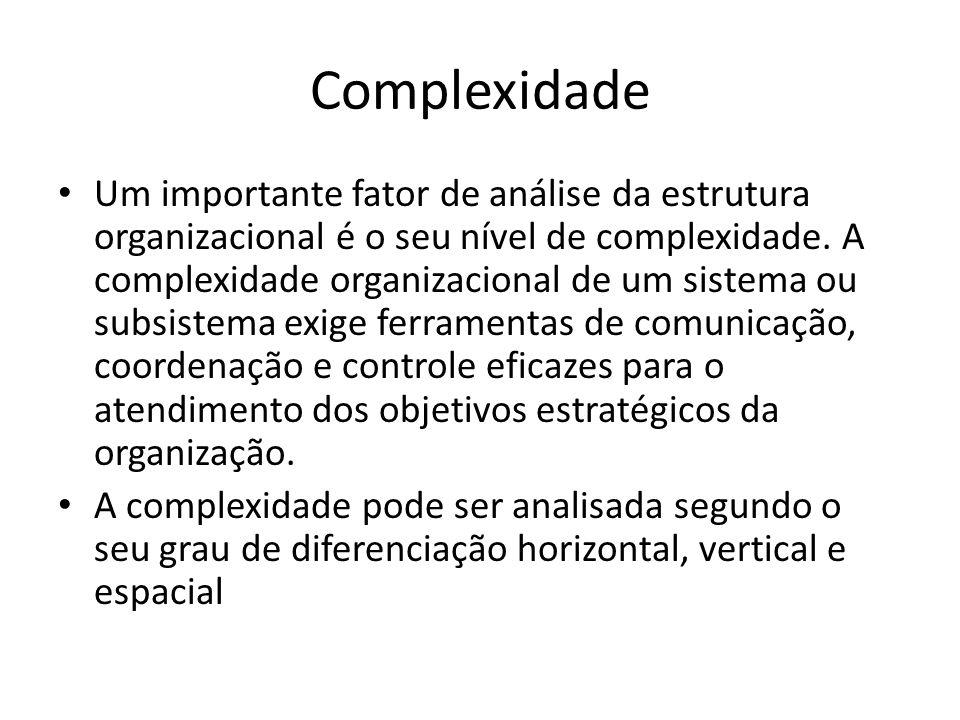 Complexidade Um importante fator de análise da estrutura organizacional é o seu nível de complexidade. A complexidade organizacional de um sistema ou