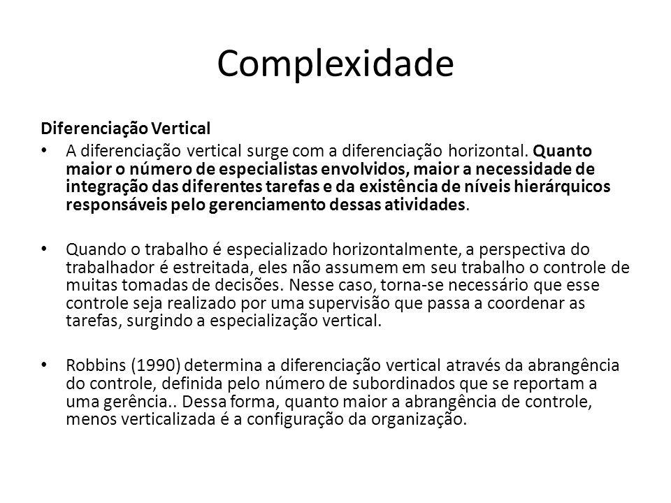 Complexidade Diferenciação Vertical A diferenciação vertical surge com a diferenciação horizontal. Quanto maior o número de especialistas envolvidos,