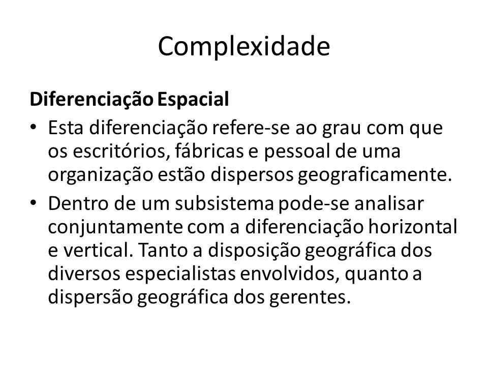 Complexidade Diferenciação Espacial Esta diferenciação refere-se ao grau com que os escritórios, fábricas e pessoal de uma organização estão dispersos