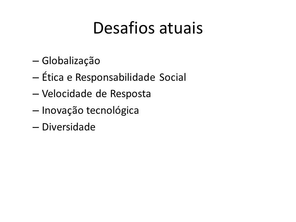 Desafios atuais – Globalização – Ética e Responsabilidade Social – Velocidade de Resposta – Inovação tecnológica – Diversidade