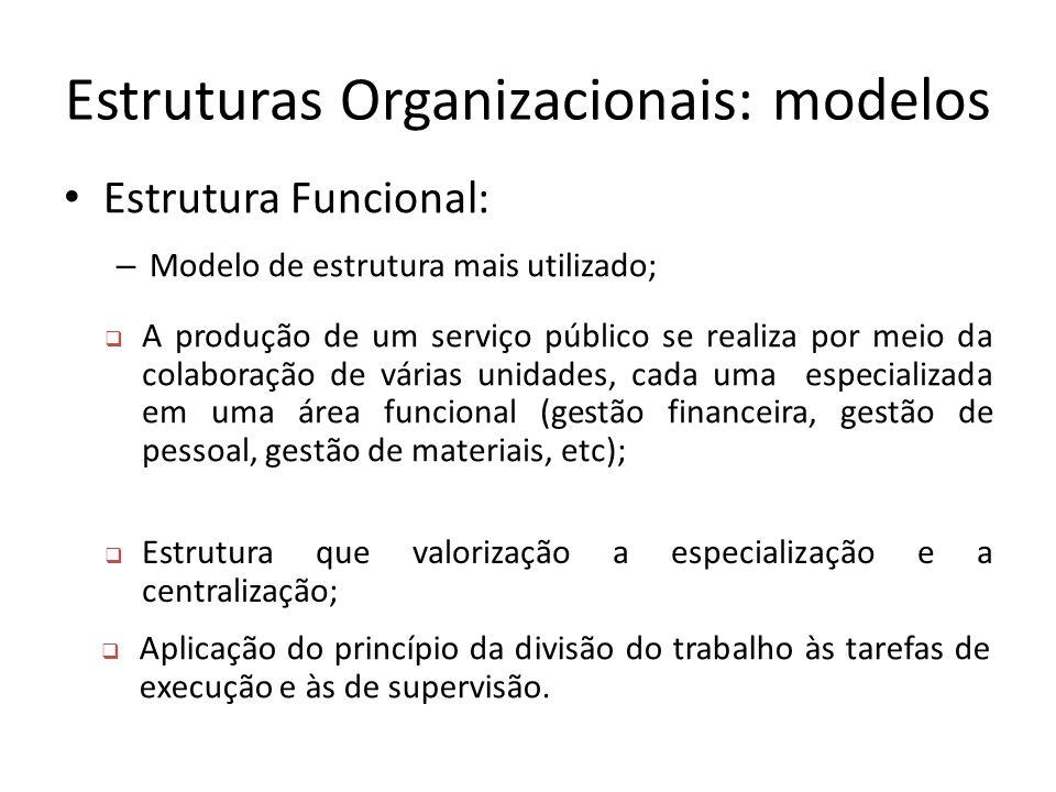 Estruturas Organizacionais: modelos Estrutura Funcional: – Modelo de estrutura mais utilizado;  A produção de um serviço público se realiza por meio