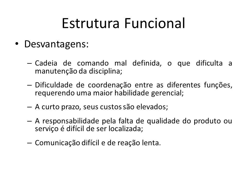 Estrutura Funcional Desvantagens: – Cadeia de comando mal definida, o que dificulta a manutenção da disciplina; – Dificuldade de coordenação entre as