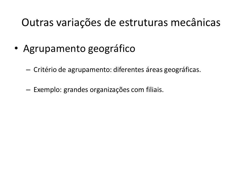 Outras variações de estruturas mecânicas Agrupamento geográfico – Critério de agrupamento: diferentes áreas geográficas. – Exemplo: grandes organizaçõ