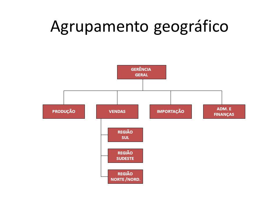 Agrupamento geográfico GERÊNCIA GERAL ADM. E FINANÇAS IMPORTAÇÃOVENDASPRODUÇÃO REGIÃO SUL REGIÃO SUDESTE REGIÃO NORTE /NORD.
