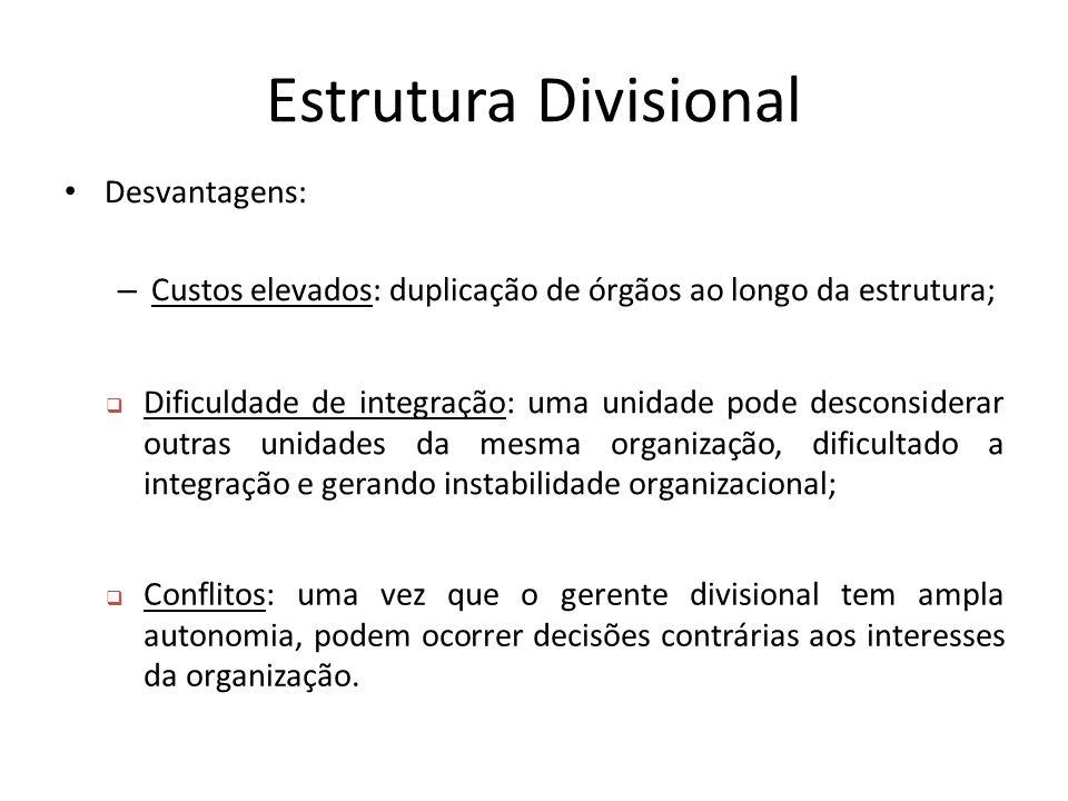 Estrutura Divisional Desvantagens: – Custos elevados: duplicação de órgãos ao longo da estrutura;  Dificuldade de integração: uma unidade pode descon