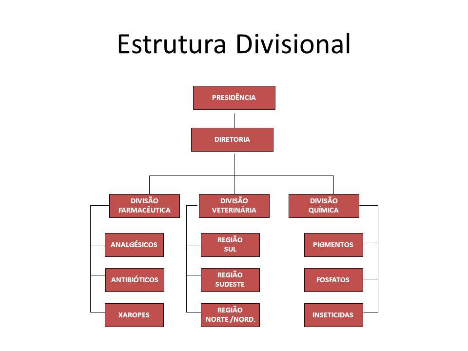 Estrutura Divisional PRESIDÊNCIA DIVISÃO QUÍMICA DIVISÃO VETERINÁRIA DIVISÃO FARMACÊUTICA DIRETORIA ANALGÉSICOS ANTIBIÓTICOS XAROPES PIGMENTOS FOSFATO