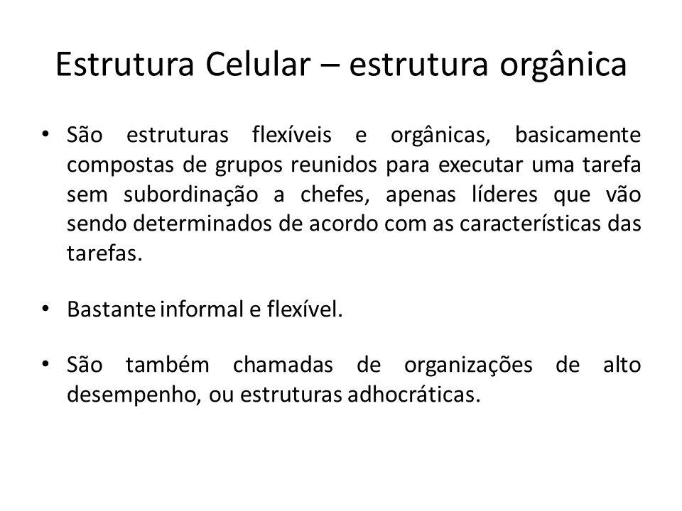 Estrutura Celular – estrutura orgânica São estruturas flexíveis e orgânicas, basicamente compostas de grupos reunidos para executar uma tarefa sem sub
