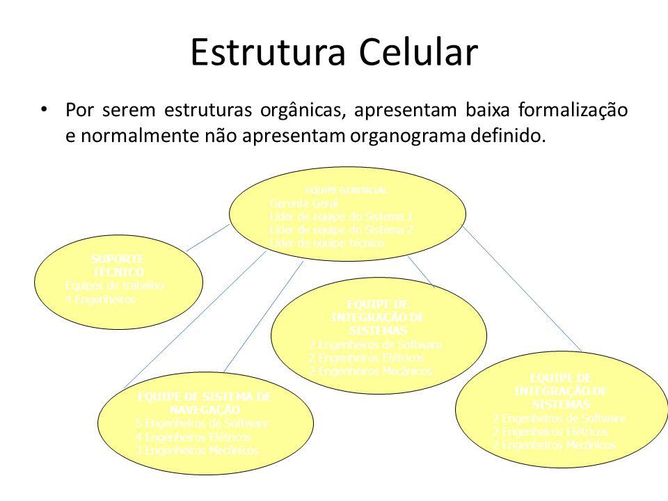 Estrutura Celular Por serem estruturas orgânicas, apresentam baixa formalização e normalmente não apresentam organograma definido. EQUIPE GERENCIAL Ge