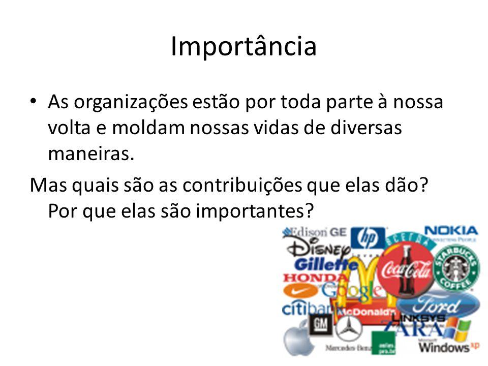Importância As organizações estão por toda parte à nossa volta e moldam nossas vidas de diversas maneiras. Mas quais são as contribuições que elas dão