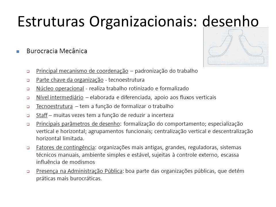 Estruturas Organizacionais: desenho Burocracia Mecânica  Principal mecanismo de coordenação – padronização do trabalho  Parte chave da organização -