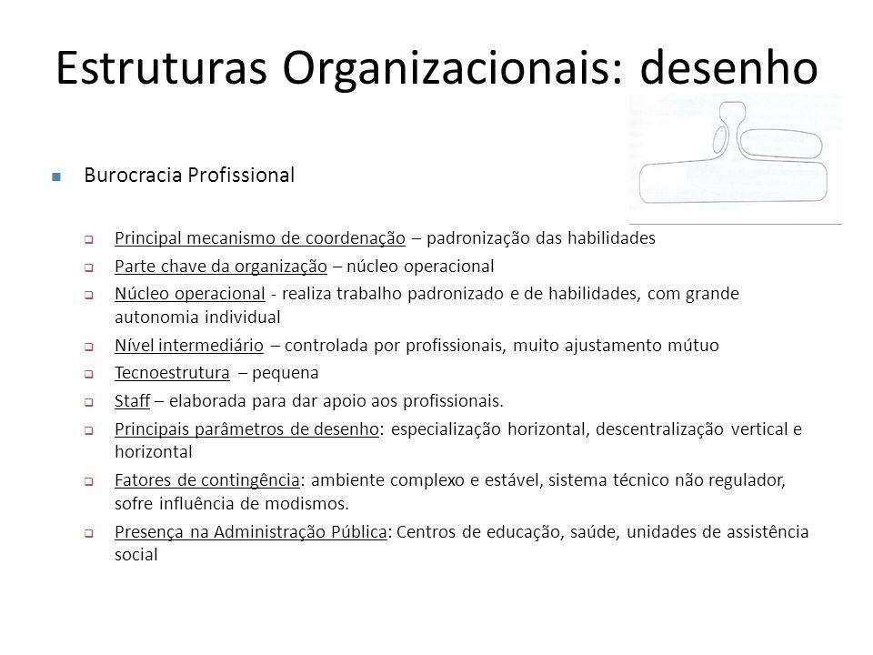 Estruturas Organizacionais: desenho Burocracia Profissional  Principal mecanismo de coordenação – padronização das habilidades  Parte chave da organ