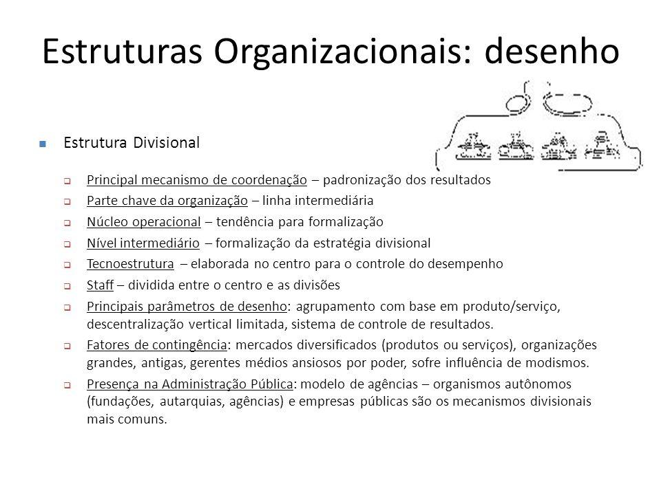 Estruturas Organizacionais: desenho Estrutura Divisional  Principal mecanismo de coordenação – padronização dos resultados  Parte chave da organizaç