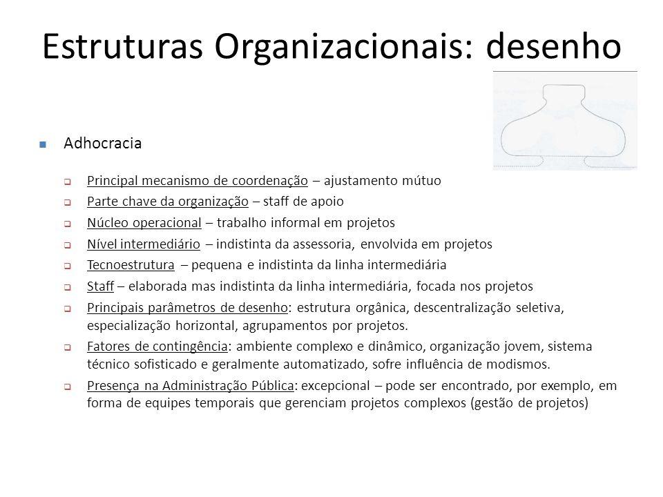 Estruturas Organizacionais: desenho Adhocracia  Principal mecanismo de coordenação – ajustamento mútuo  Parte chave da organização – staff de apoio