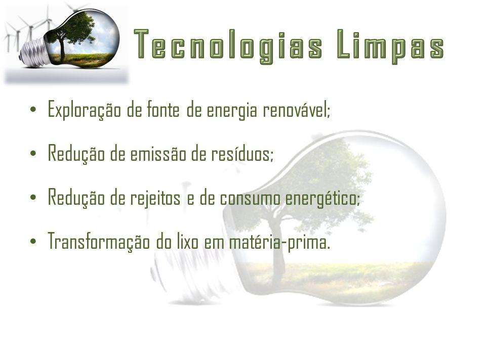 Exploração de fonte de energia renovável; Redução de emissão de resíduos; Redução de rejeitos e de consumo energético; Transformação do lixo em matéri