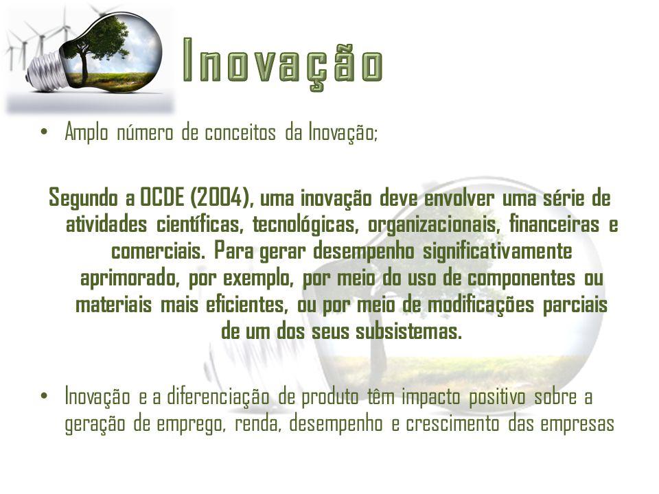 Amplo número de conceitos da Inovação; Segundo a OCDE (2004), uma inovação deve envolver uma série de atividades científicas, tecnológicas, organizaci