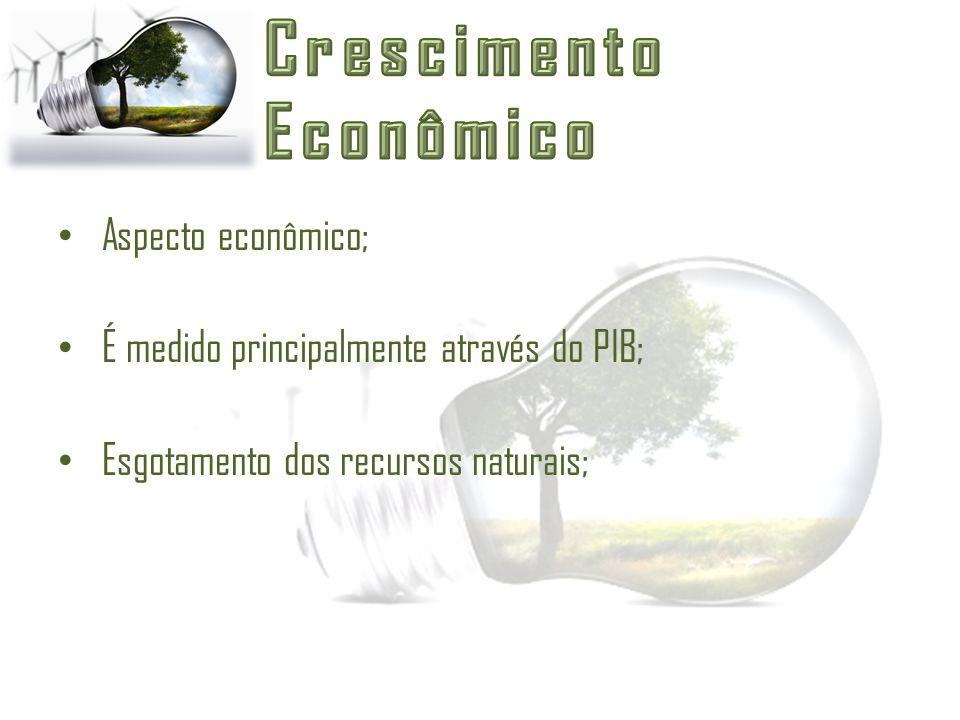 Aspecto econômico; É medido principalmente através do PIB; Esgotamento dos recursos naturais;