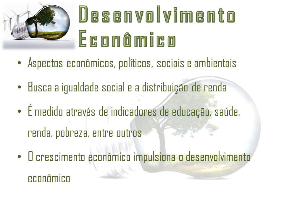 Aspectos econômicos, políticos, sociais e ambientais Busca a igualdade social e a distribuição de renda É medido através de indicadores de educação, s