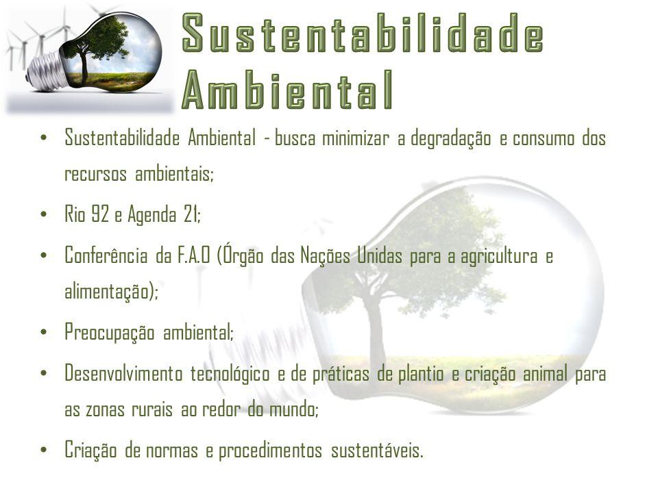 Sustentabilidade Ambiental - busca minimizar a degradação e consumo dos recursos ambientais; Rio 92 e Agenda 21; Conferência da F.A.O (Órgão das Naçõe