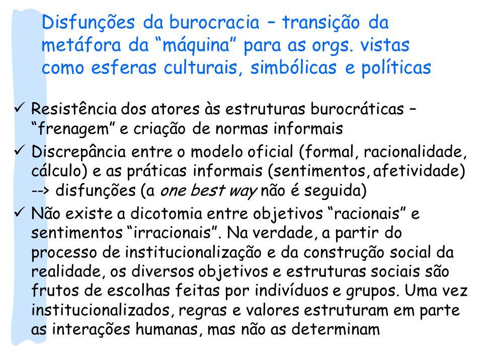 """Disfunções da burocracia – transição da metáfora da """"máquina"""" para as orgs. vistas como esferas culturais, simbólicas e políticas Resistência dos ator"""