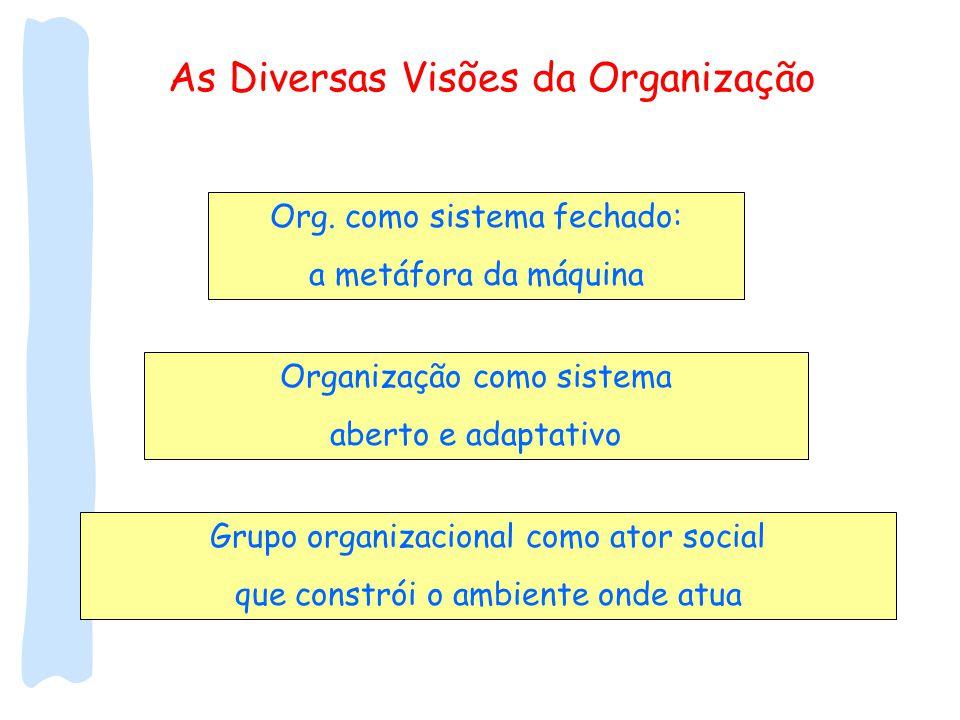 As Diversas Visões da Organização Org. como sistema fechado: a metáfora da máquina Organização como sistema aberto e adaptativo Grupo organizacional c