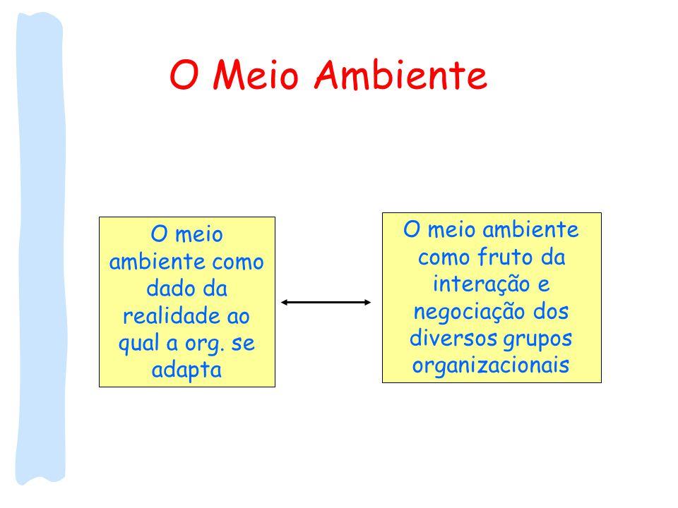 O Meio Ambiente O meio ambiente como dado da realidade ao qual a org. se adapta O meio ambiente como fruto da interação e negociação dos diversos grup