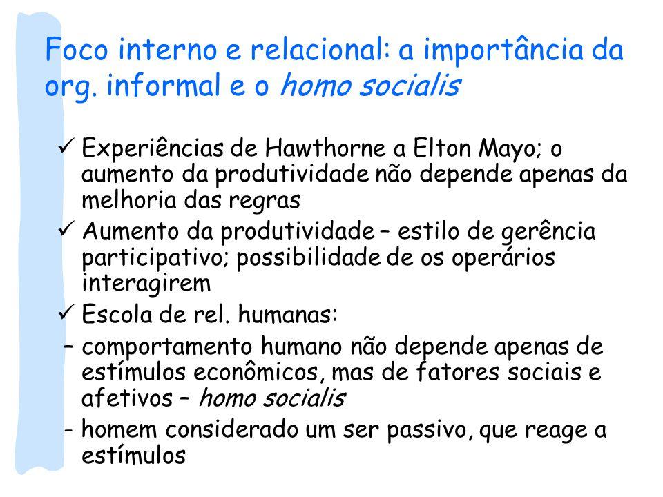 Foco interno e relacional: a importância da org.