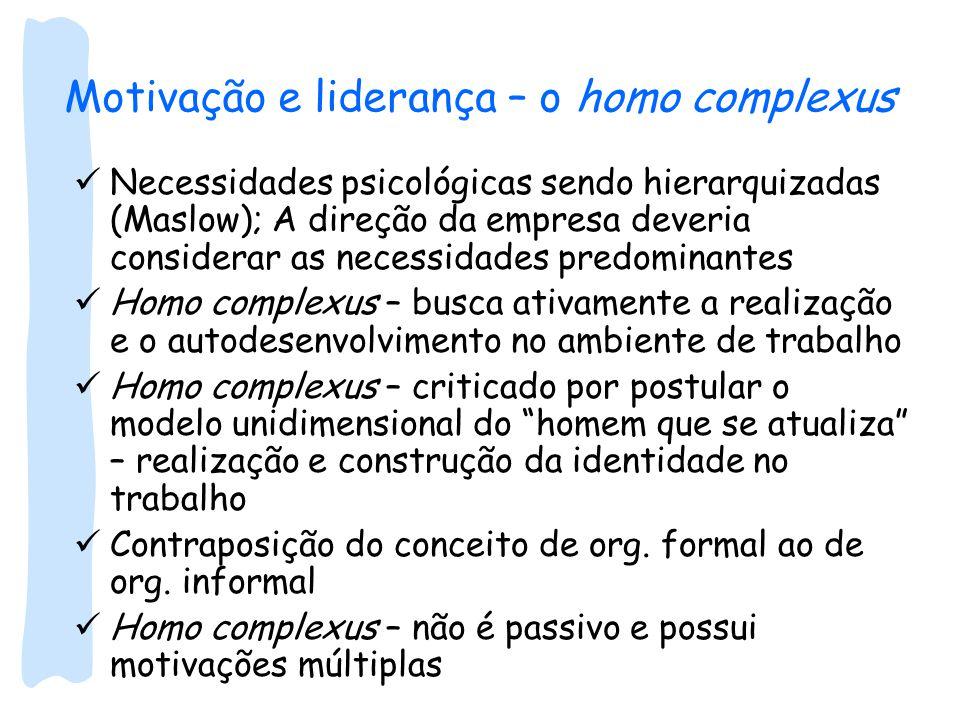 Motivação e liderança – o homo complexus Necessidades psicológicas sendo hierarquizadas (Maslow); A direção da empresa deveria considerar as necessida