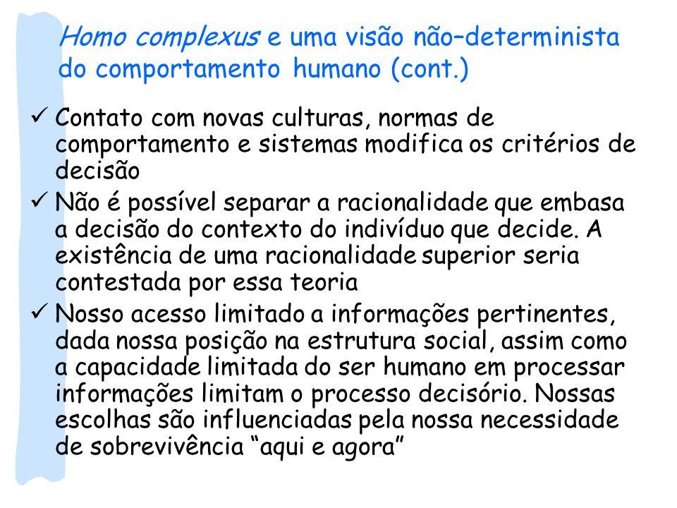 Homo complexus e uma visão não–determinista do comportamento humano (cont.) Contato com novas culturas, normas de comportamento e sistemas modifica os