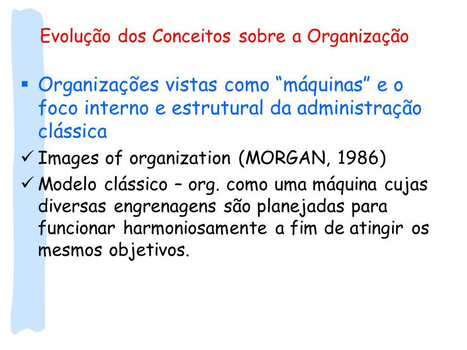 Evolução dos Conceitos sobre a Organização  Organizações vistas como máquinas e o foco interno e estrutural da administração clássica Images of organization (MORGAN, 1986) Modelo clássico – org.