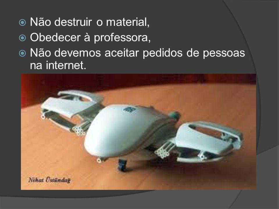  Não destruir o material,  Obedecer à professora,  Não devemos aceitar pedidos de pessoas na internet.