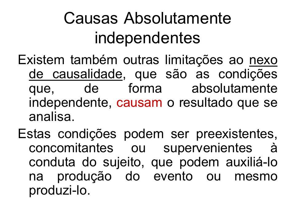 Causas Absolutamente independentes Existem também outras limitações ao nexo de causalidade, que são as condições que, de forma absolutamente independe