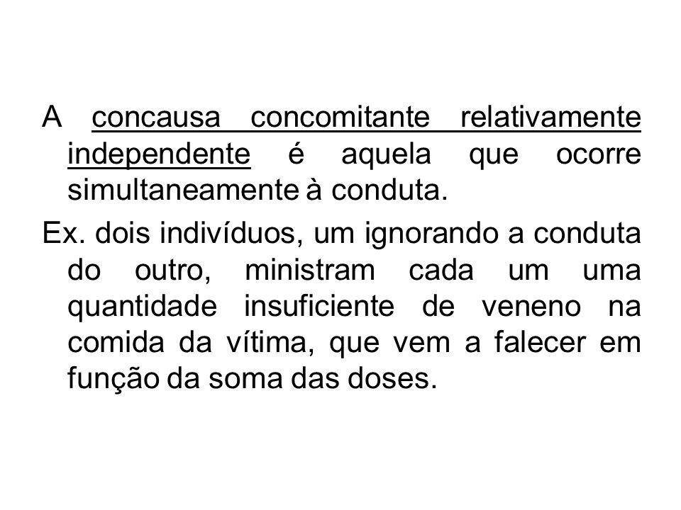 A concausa concomitante relativamente independente é aquela que ocorre simultaneamente à conduta. Ex. dois indivíduos, um ignorando a conduta do outro