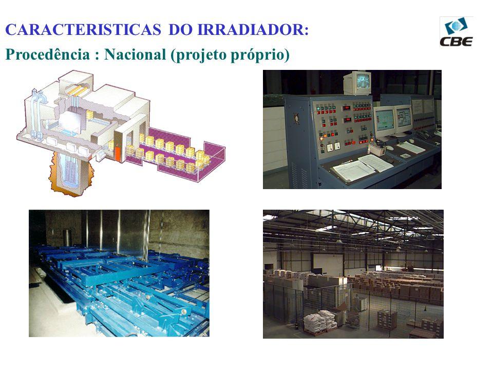 CARACTERISTICAS DO IRRADIADOR: Procedência : Nacional (projeto próprio)