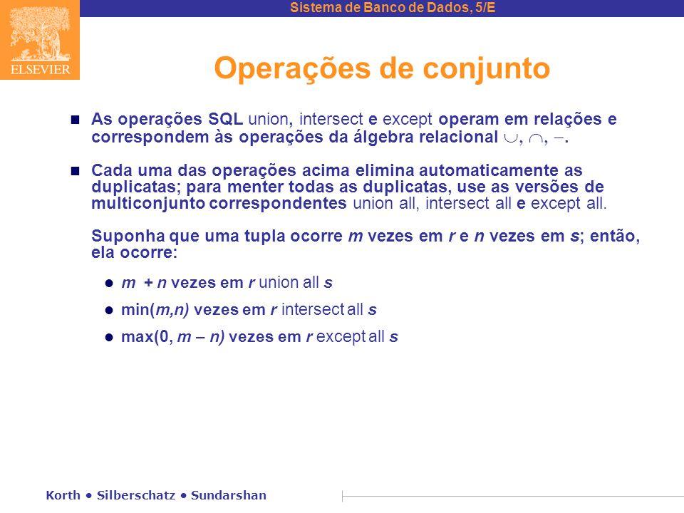 Sistema de Banco de Dados, 5/E Korth Silberschatz Sundarshan Operações de conjunto As operações SQL union, intersect e except operam em relações e correspondem às operações da álgebra relacional .