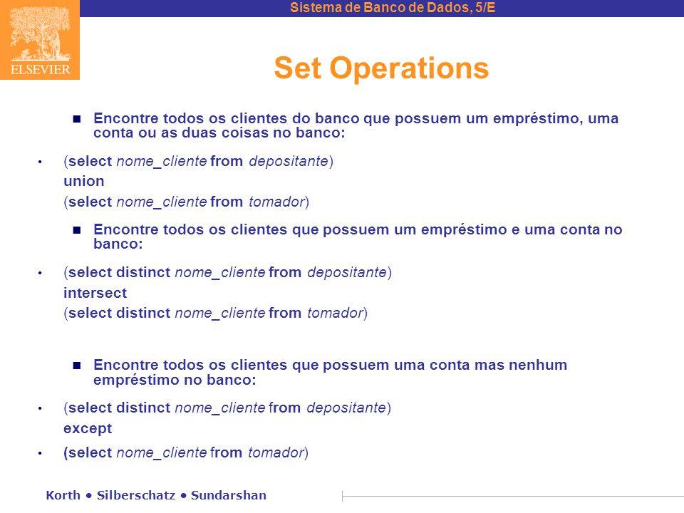 Sistema de Banco de Dados, 5/E Korth Silberschatz Sundarshan Set Operations n Encontre todos os clientes do banco que possuem um empréstimo, uma conta