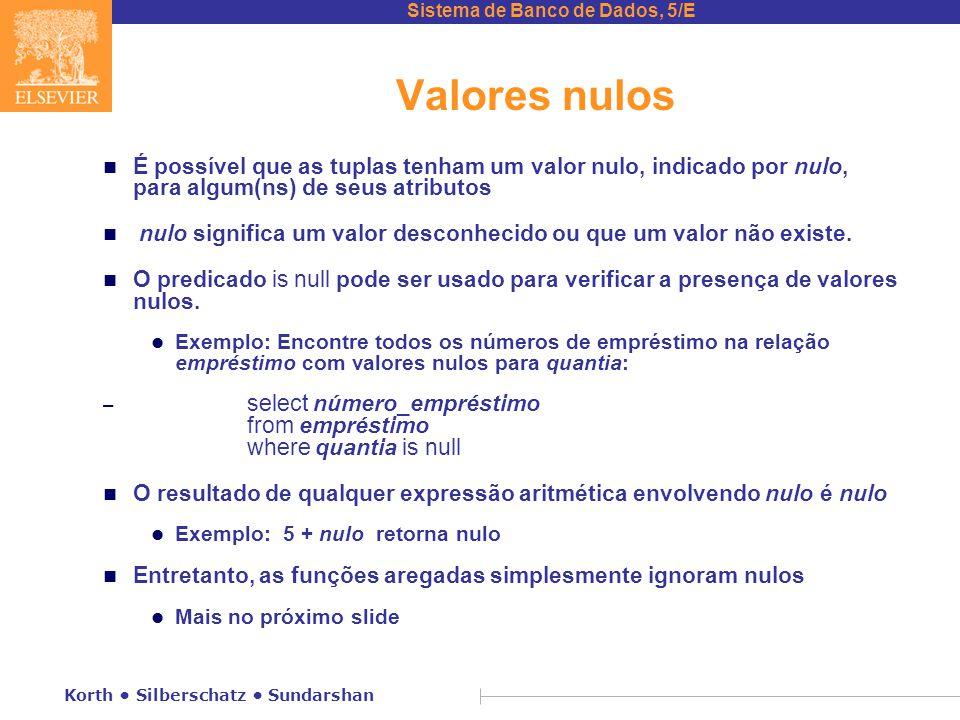 Sistema de Banco de Dados, 5/E Korth Silberschatz Sundarshan Valores nulos n É possível que as tuplas tenham um valor nulo, indicado por nulo, para algum(ns) de seus atributos n nulo significa um valor desconhecido ou que um valor não existe.