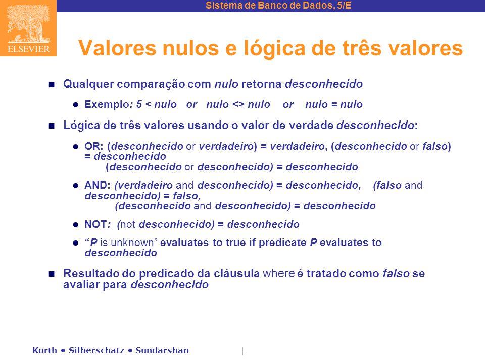Sistema de Banco de Dados, 5/E Korth Silberschatz Sundarshan Valores nulos e lógica de três valores n Qualquer comparação com nulo retorna desconhecid