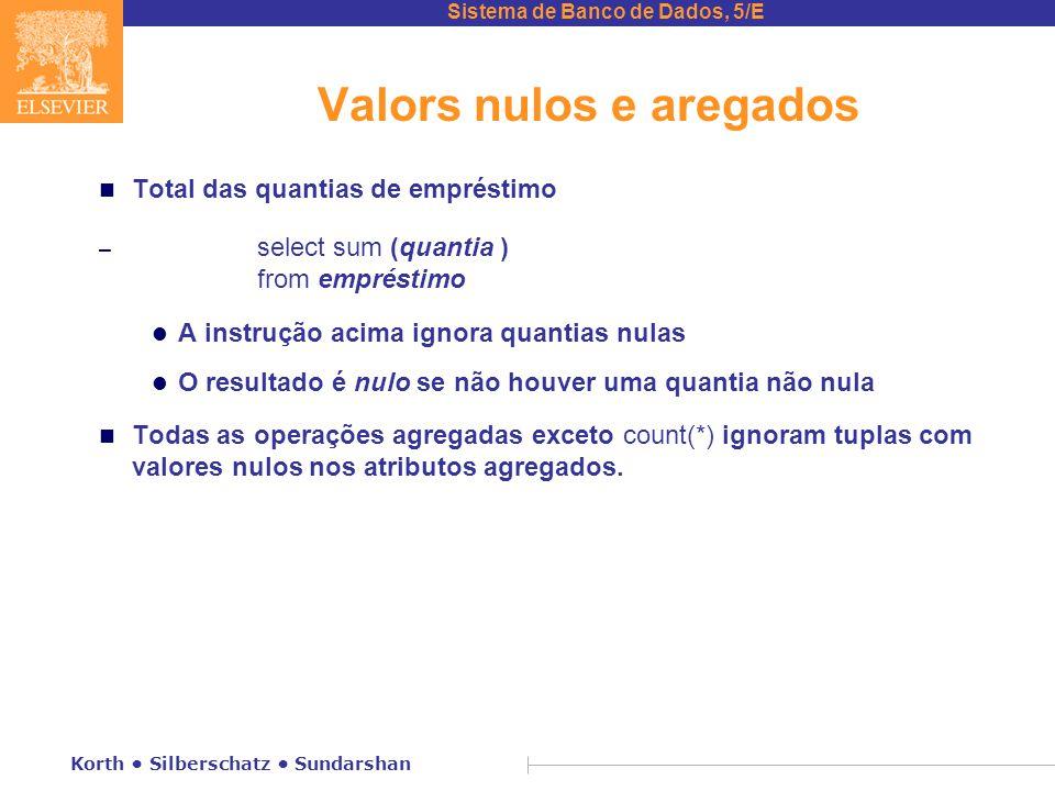 Sistema de Banco de Dados, 5/E Korth Silberschatz Sundarshan Valors nulos e aregados n Total das quantias de empréstimo – select sum (quantia ) from e