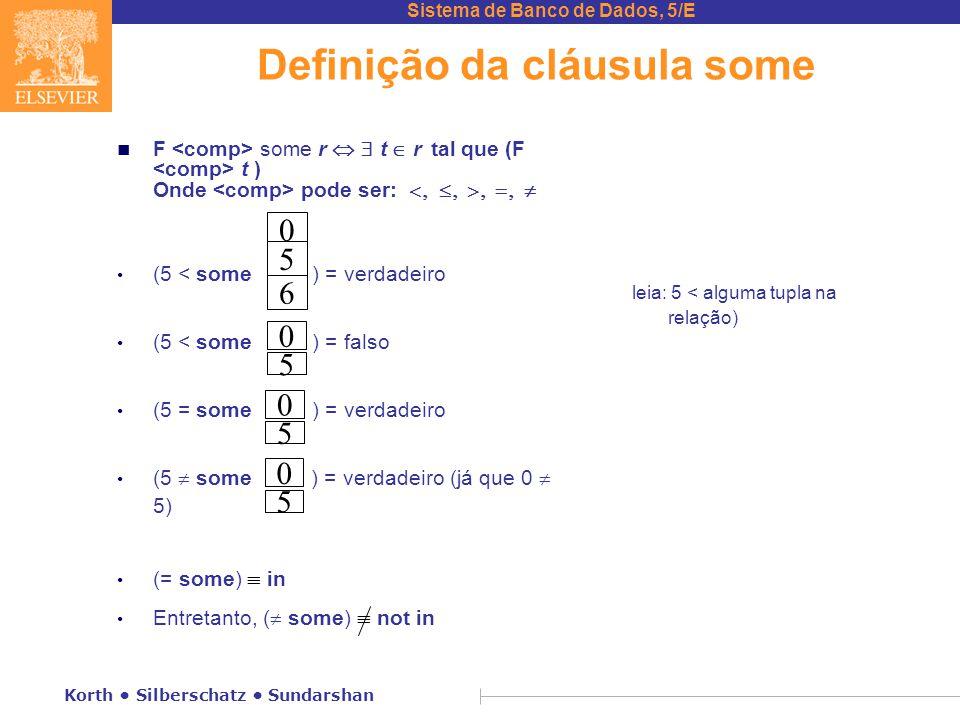 Sistema de Banco de Dados, 5/E Korth Silberschatz Sundarshan Definição da cláusula some n F some r  t  r  tal que (F t ) Onde pode ser:      (5 < some ) = verdadeiro (5 < some ) = falso (5 = some ) = verdadeiro (5  some ) = verdadeiro (já que 0  5) (= some)  in Entretanto, (  some)  not in leia: 5 < alguma tupla na relação) 0 5 6 0 5 0 5 0 5