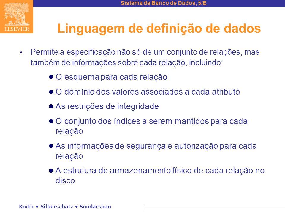 Sistema de Banco de Dados, 5/E Korth Silberschatz Sundarshan Linguagem de definição de dados Permite a especificação não só de um conjunto de relações