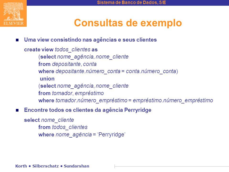 Sistema de Banco de Dados, 5/E Korth Silberschatz Sundarshan Consultas de exemplo n Uma view consistindo nas agências e seus clientes create view todo