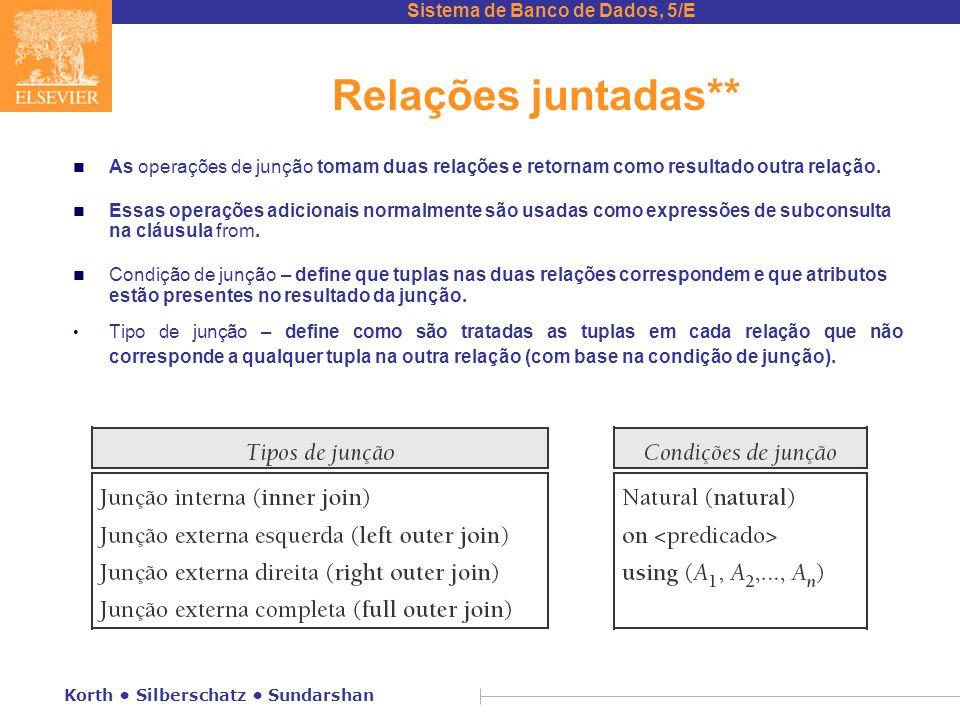 Sistema de Banco de Dados, 5/E Korth Silberschatz Sundarshan Relações juntadas** n As operações de junção tomam duas relações e retornam como resultad