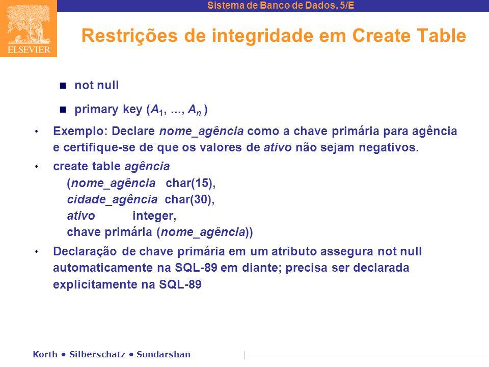 Sistema de Banco de Dados, 5/E Korth Silberschatz Sundarshan Restrições de integridade em Create Table n not null n primary key (A 1,..., A n ) Exemplo: Declare nome_agência como a chave primária para agência e certifique-se de que os valores de ativo não sejam negativos.