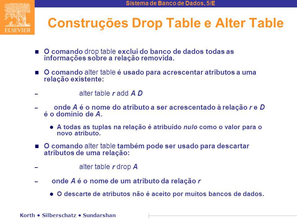 Sistema de Banco de Dados, 5/E Korth Silberschatz Sundarshan Construções Drop Table e Alter Table n O comando drop table exclui do banco de dados todas as informações sobre a relação removida.