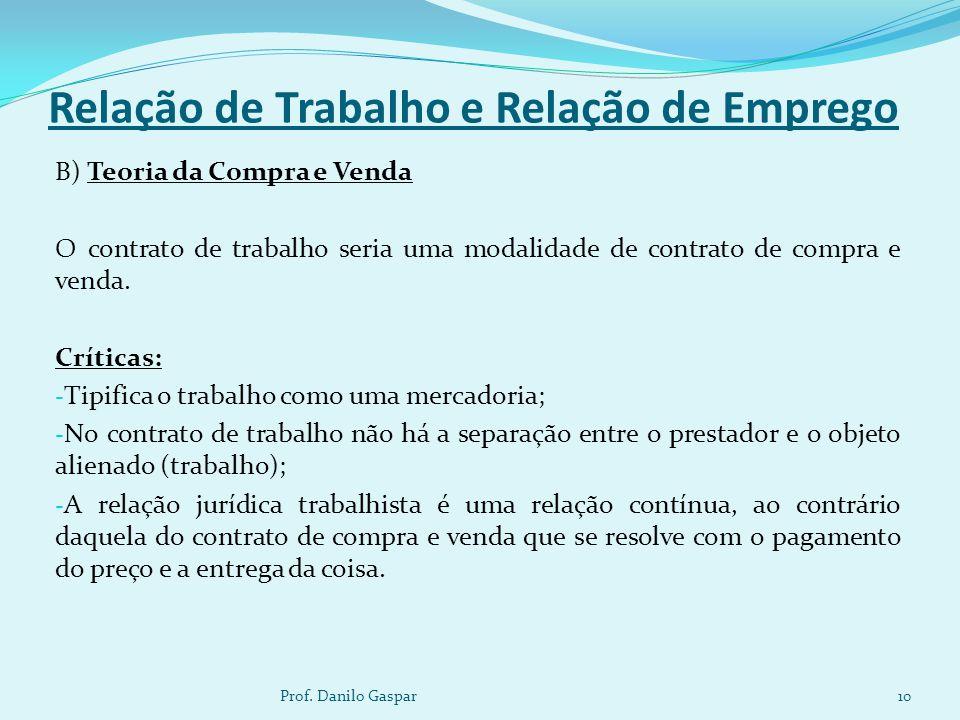 Relação de Trabalho e Relação de Emprego B) Teoria da Compra e Venda O contrato de trabalho seria uma modalidade de contrato de compra e venda. Crític
