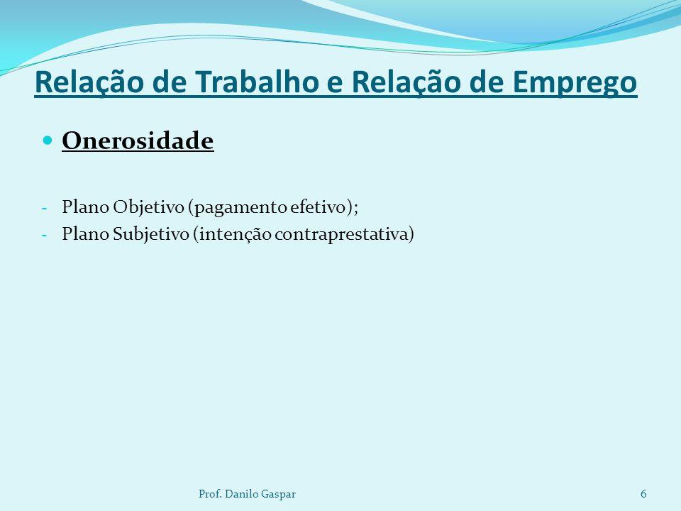 Relação de Trabalho e Relação de Emprego Onerosidade - Plano Objetivo (pagamento efetivo); - Plano Subjetivo (intenção contraprestativa) 6Prof. Danilo