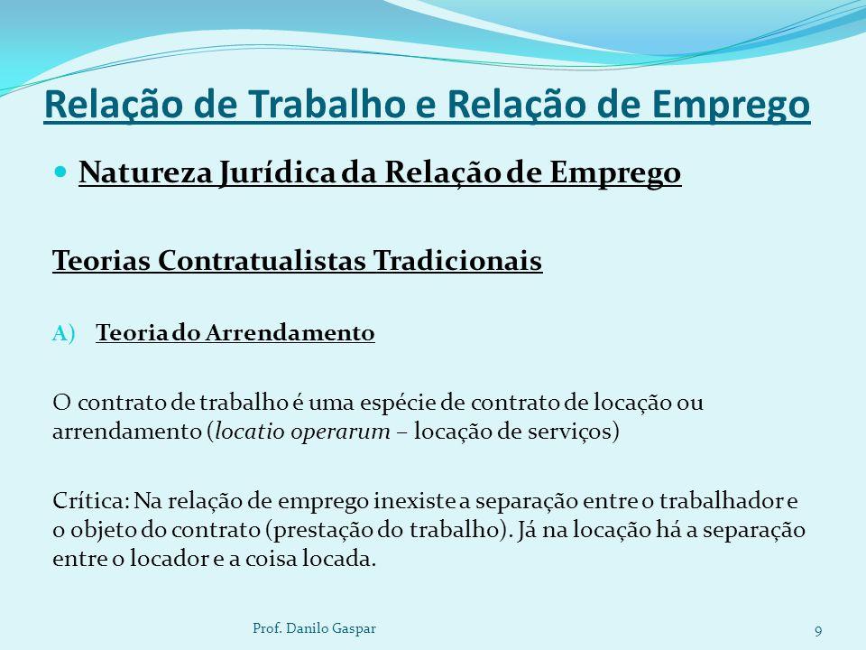 Relação de Trabalho e Relação de Emprego Natureza Jurídica da Relação de Emprego Teorias Contratualistas Tradicionais A) Teoria do Arrendamento O cont
