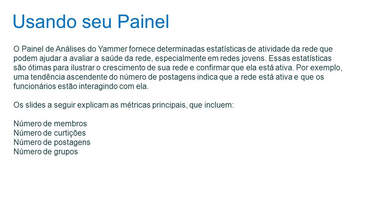 Usando seu Painel O Painel de Análises do Yammer fornece determinadas estatísticas de atividade da rede que podem ajudar a avaliar a saúde da rede, es