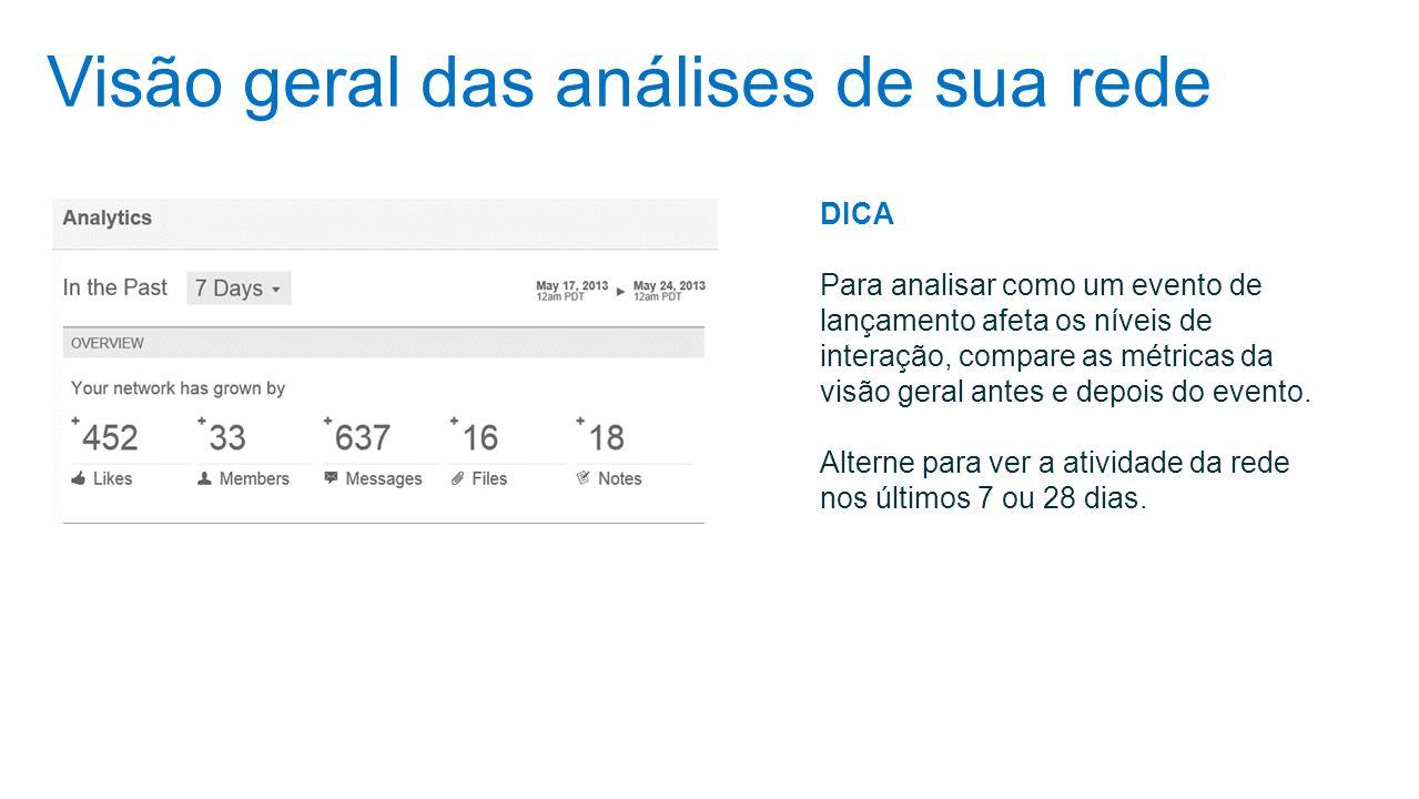 Visão geral das análises de sua rede DICA Para analisar como um evento de lançamento afeta os níveis de interação, compare as métricas da visão geral